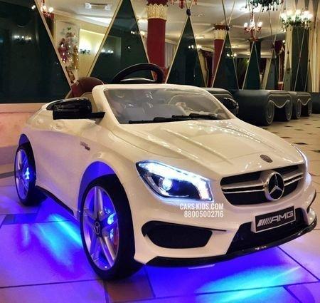 Электромобиль Mercedes Benz CLA 45 AMG белый (колеса резина, сиденье кожа, пульт, музыка)