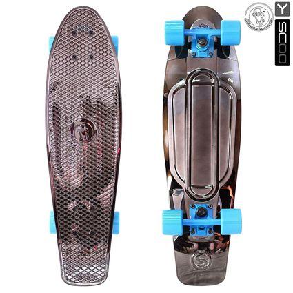 "402H-Bb Скейтборд Y-SCOO Big Fishskateboard metallic 27"" винил 68,6х19 с сумкой BLACK BRONZAT/blue"